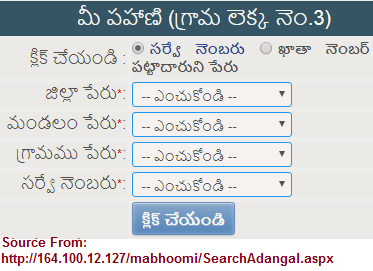 Maa Bhoomi Telangana Land Records at http://164 100 12 127/Mabhoomi