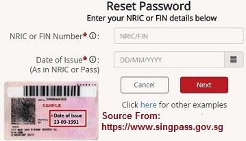 reset singpass password