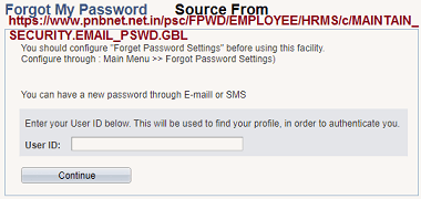 PNB HRMS Password Reset