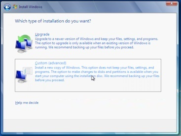 windows 7 os custom options