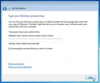 windows 7 product key activation