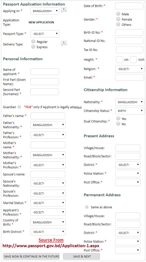 Bangladesh Passport Online Application
