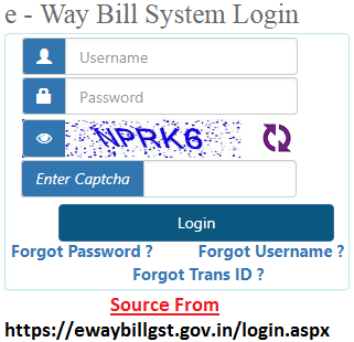 Eway Bill Login at ewaybill.nic.in