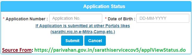 parivahan gov in license status