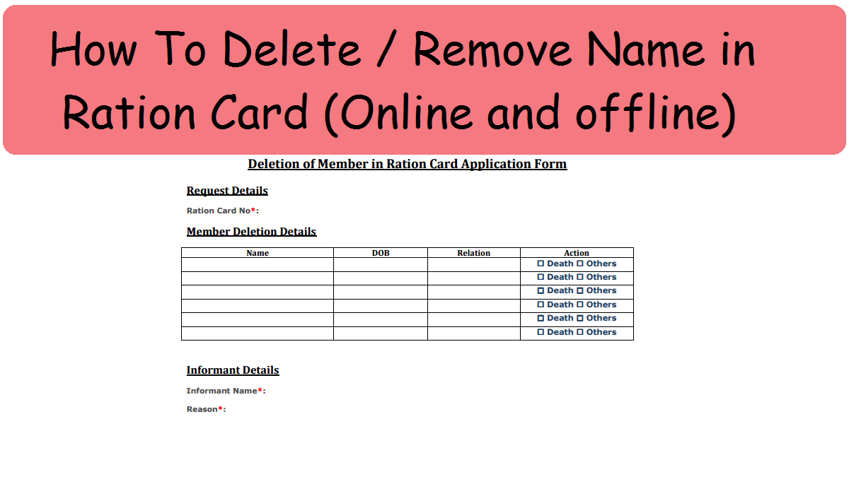 Remove Name in Ration Card