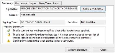 Aadhaar Card Signature Validation