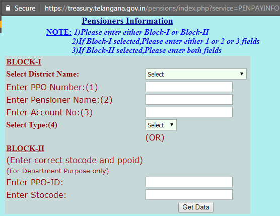 Telangana Pensioners Information at