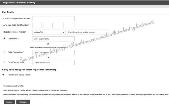 Canara Bank Internet Banking Registration