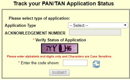 pan card application status by nsdl