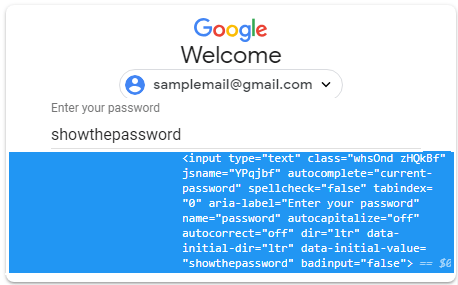 see password using inspect element