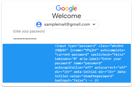 show remember password using inspect element