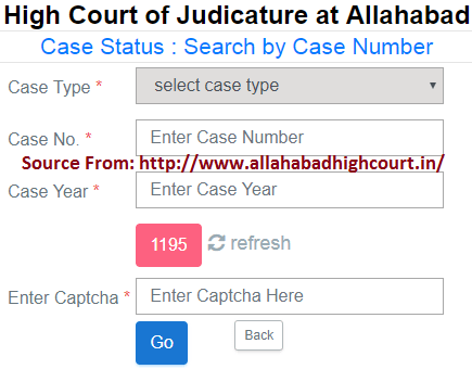 Allahabad High Court Case Status by Case Number wise