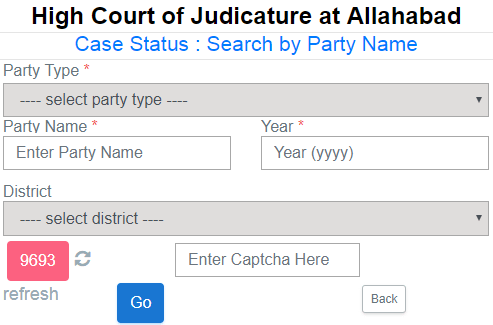 Allahabad High Court Case Status by party name wise