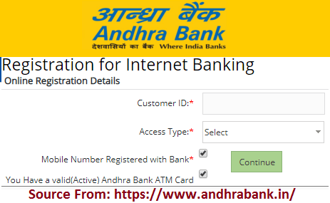 Andhra Bank Net Banking Online Registration