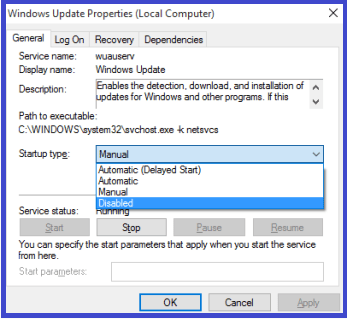 Disable Windows Update in Windows 10