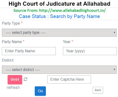 Allahabad HC Case Status by Party Name Wise