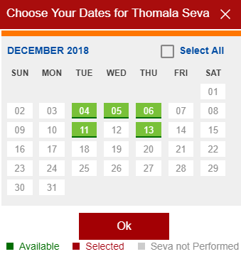 TTD Seva Electronic DIP Dates Selection