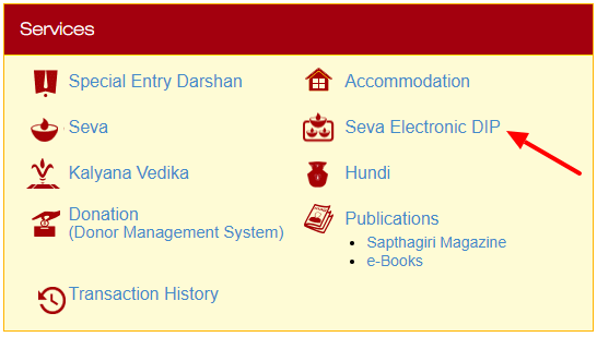 TTD Seva Lucky DIP Selection