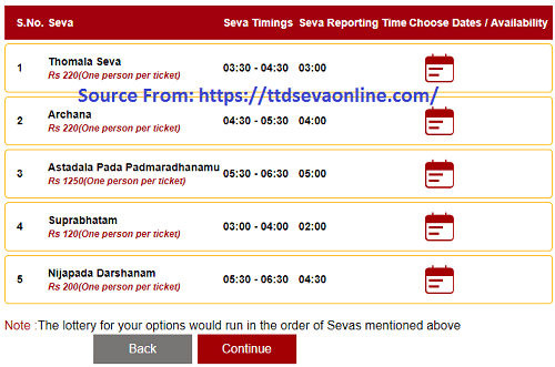 Choose Seva for TTD Seva Electronic DIP