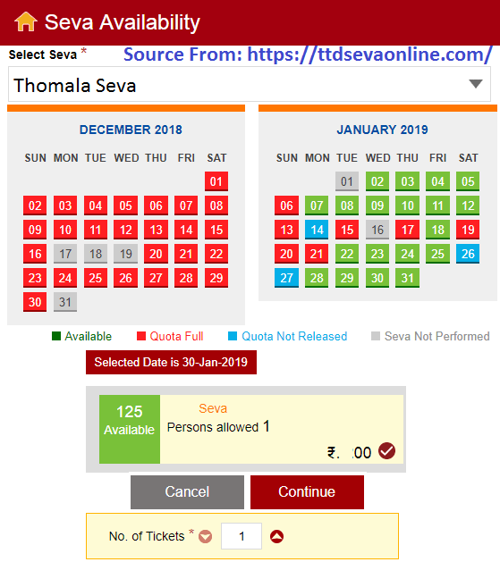 Tirumala Thomala Seva Tickets Booking