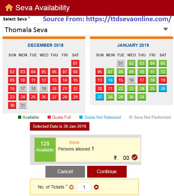 Tirumala Thomala Seva Tickets Booking
