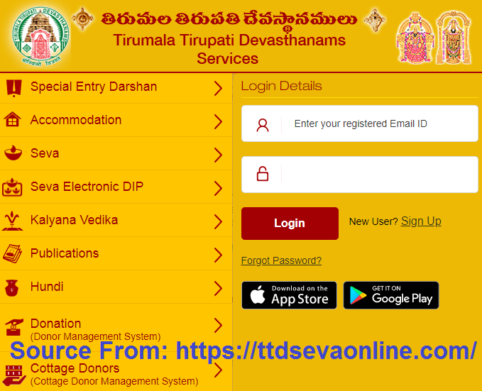 TTDSevaOnline com Seva Tickets Booking in TTD Seva Online New User
