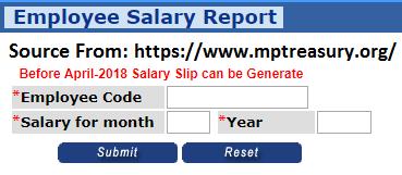 MP Treasury Teachers Salary Pay Slip